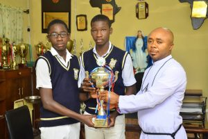 THE DIRECTOR WELCOMES BACK THE EWEPUTANNA NNAMDI AND CHUKWUEZI CHIZITERE, AFTER TAKING FIRST POSITION IN A NATIONAL CHEMISTRY COMPETITION IN IBADAN, 2018